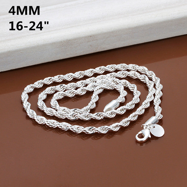 4MM width 16inch-24inch Silver Rope Chains Necklace silver fashion jewelry high quality free shipping