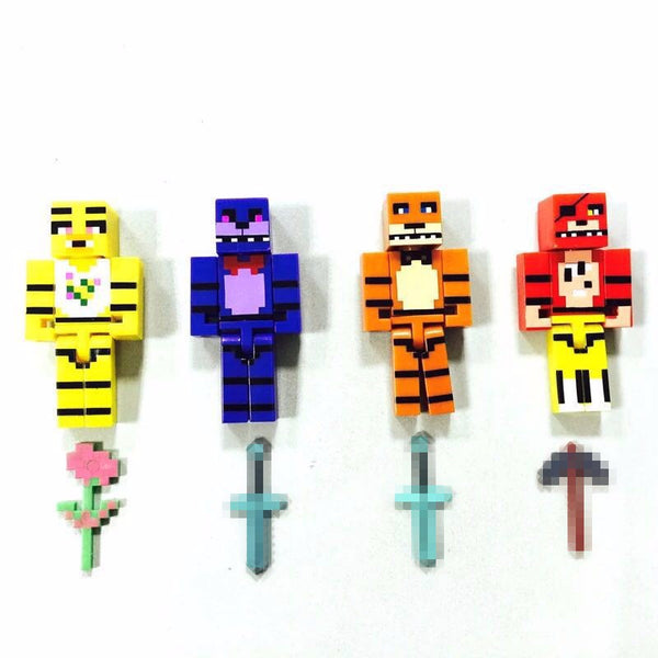 4pcs set Minecraft Five Nights At Freddy's 4 FNAF Foxy Chica Bonnie Freddy Action Figures Kid Toy