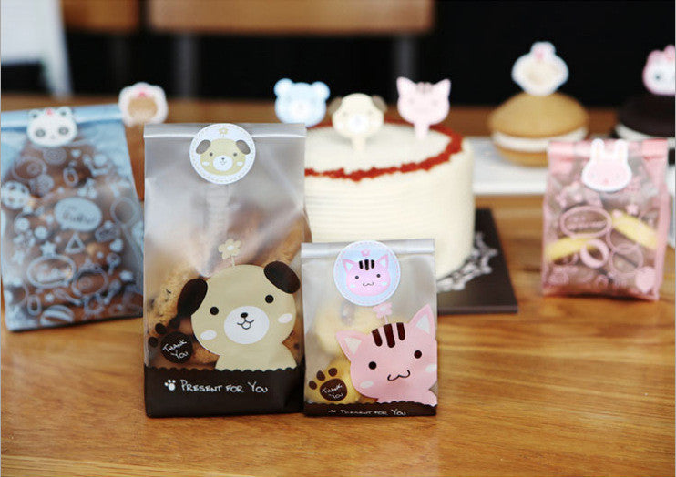 50&100pcs lot Cute Cat and Dog Cookie Bag Bread bag Gift Candy Package Snack Bag Jewelry bags Send children the Baking Gift