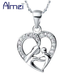 50% off Fashion Crystal Heart Mothers Daughter Pendant Necklace for Women Mother's Day Gift Trendy 2016 Charms Jewelry N595