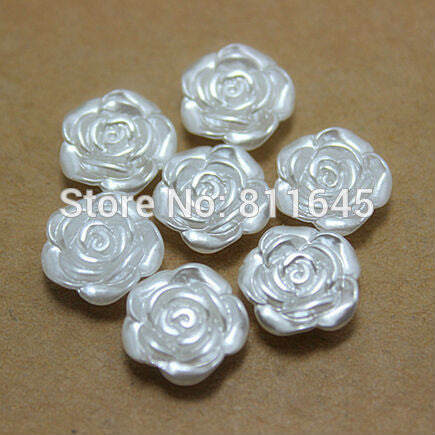 50pcs lot 12mm Resin ABS Imitation Pearls Rose Flower Designed Flat Back Cabochon Pearls For DIY Decoration
