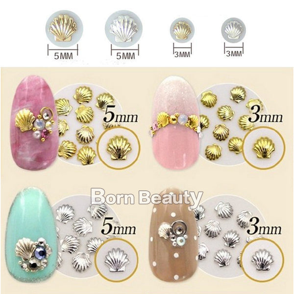 50pcs pack Mixed 3mm 5mm 3d Gold Silver Shell Design Nail Art DIY Charm Metal Studs Nail Art Decorations