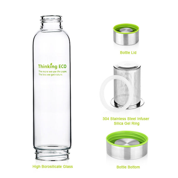 550ML My Bottle Glass Tea Infuser Water Bottle With Stainless Steel Filter Portable Sport Fruit Bottle With Sleeve tea bottles