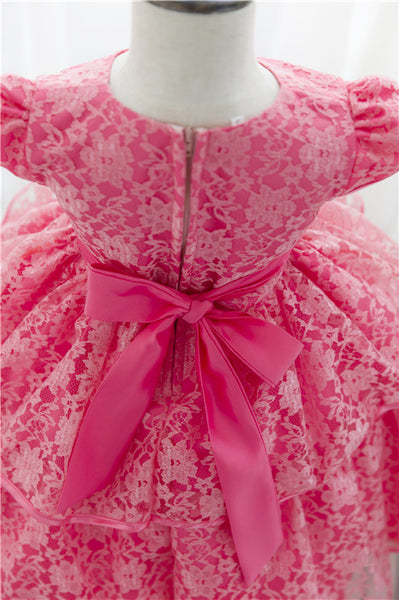 [Lucky& Lucky] wedding dress baby girls party dresses ball grwn layed dresses for kids beautiful Flower girl