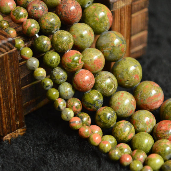 5A Quality Unakite Beads Natural Stone Beads For Jewelry Making Round Shape Crystal Beads DIY Necklace Bracelet 4 6 8 10 12mm