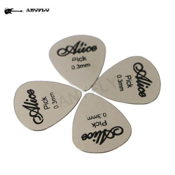 5pcs Alice Stainless Steel Triangle Shape Metal Guitar Electric Guitar Rock Picks 0.3mm+ 1pcs Guitar Pick Holder Case Package