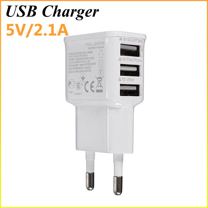 5V 2.1A 3 Ports EU Plug USB Wall AC Charger Adapter For Samsung Galaxy S5 S4 S3 S2 Note 4 For Apple iPhones