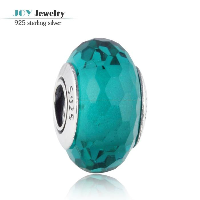 6 Colors Faceted Murano Glass Beads Fit Pandora Charms Bracelets 925 Sterling Silver Faceted Glass Bead For Jewelry Making DIY