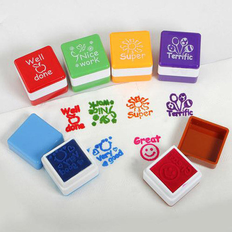 6 in 1 English Words Praise Reward Stamp Printing Set for