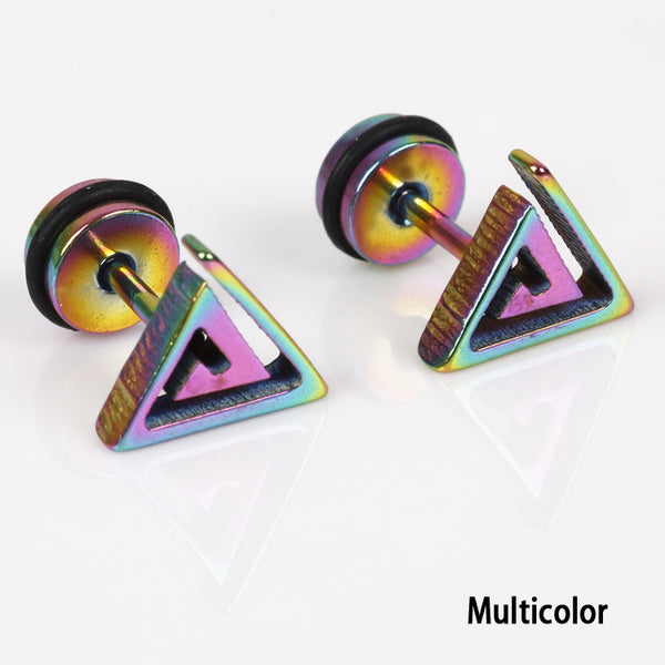 1 Pc 2016 Unisex Maze Triangle Shaped Titanium Steel Stud Earrings Hypoallergenic Punk Ear Studs Free Shipping