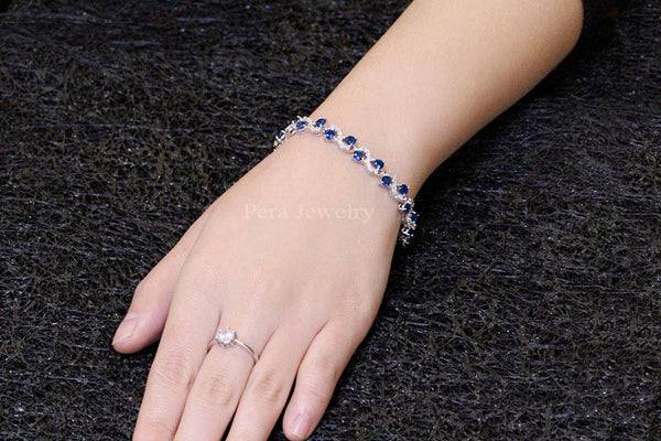 5 Color Options Fashion Ladies Sterling Silver Sapphire Jewelry Luxury CZ Diamond Royal Blue Bracelets For Christmas Gift B017
