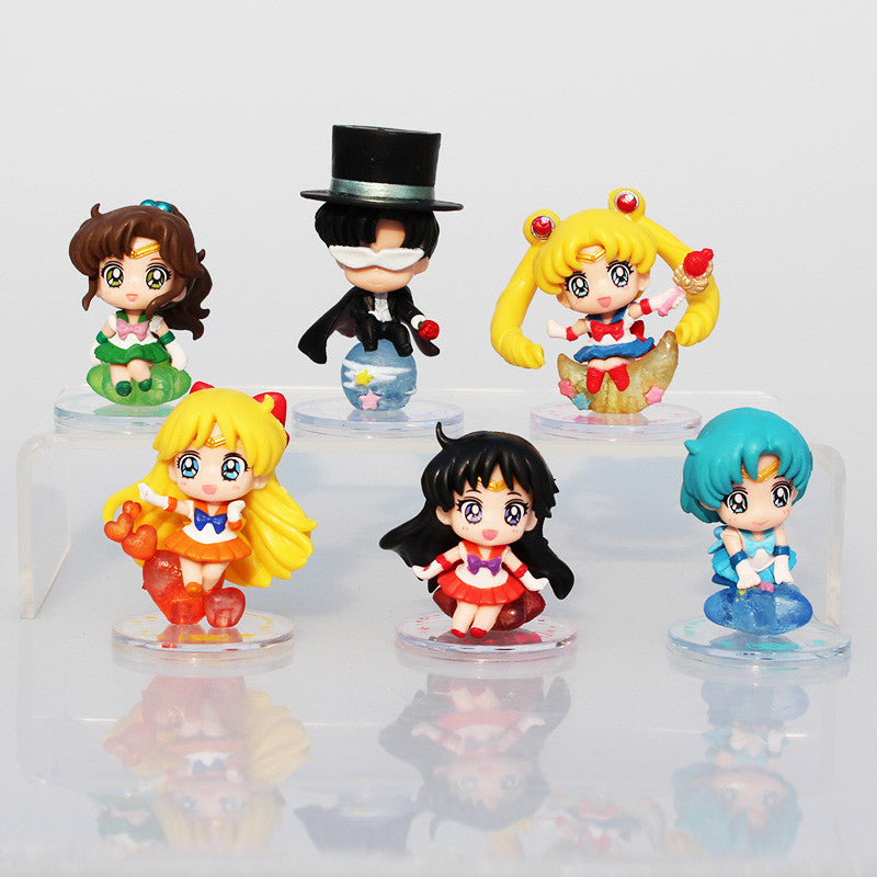 6Pcs Set Anime Cartoon Sailor Moon Tsukino Usagi Tuxedo Mask Sailor Venus Mercury Mars Jupiter PVC Action Figure Model Toy