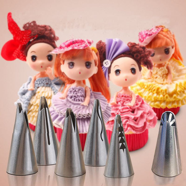 6pcs set wedding Cake design Barbie skirt dress stainless steel Tips cream cake decorating Russian piping nozzle Free shippimg