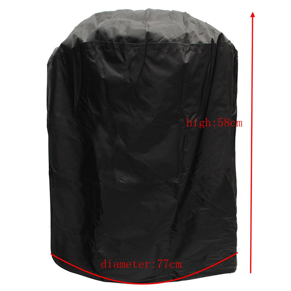 77cm Round Waterproof BBQ Stove Cover Gas Electric Barbecue Portable Grill Protector Black Color Dust Prevention