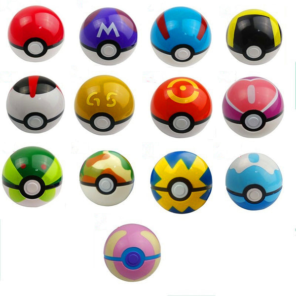 7cm 13 Color PokeBall ABS Anime Pikachu Game Toys Super Master Ball Toys Poke ball Action Figures