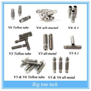 8 Type 3D Printer Nozzle throat with Teflon tube or All metal or 4.1mm Through-hole for 1.75mm or 3.0mm 3D V5 & 3D V6 J-Head