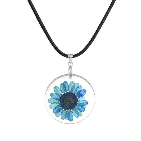 8SEASONS Handmade Boho Transparent Resin Dried Flower Daisy Necklace Ball Chain Silver Plated White Round 45cm long 1 Piece