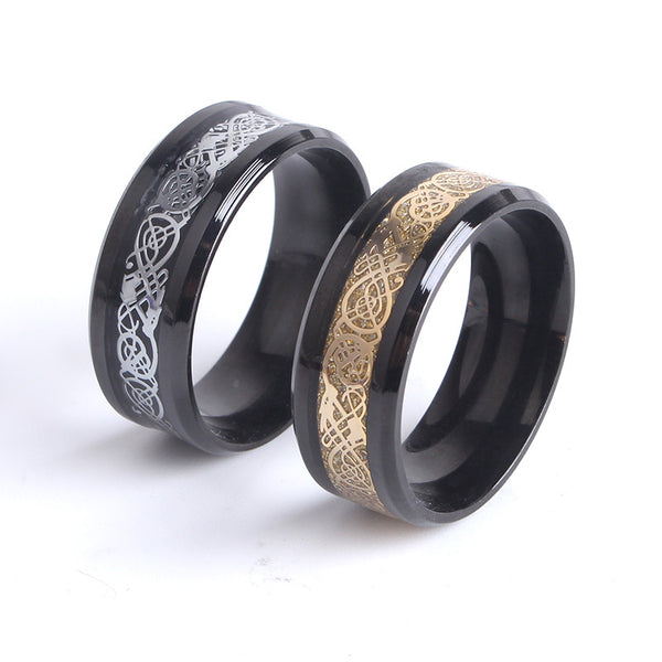 8mm Black Hollow dragon 316L Stainless Steel finger rings for women men wholesale jewelry