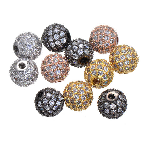 8mm Multicolor Copper Micro pave Clear Zircon Beads Charms Jewelry Suitable Beads Fits Charm Bracelets