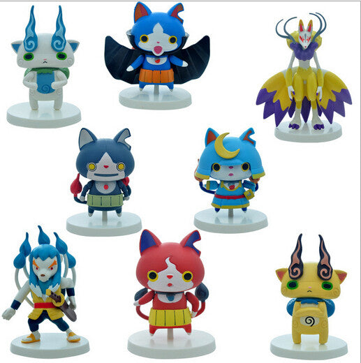 8pcs lot Yokai Watch Jibanyan Komasan Whisper PVC Doll Toy Figures Kids Toys Yokai Watch Pets Action Figure