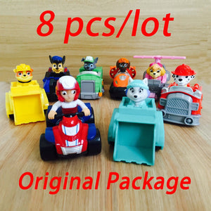 8pcs set Russian Kid toys Patrol Dog Patrulla Canina Toys Everest Ryder Skye Chase Vehicle Car Spain Patrol Canine