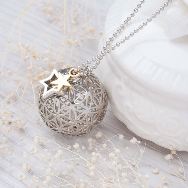 8SEASONS Copper Flower Of Life Charms Pendants Round Necklace Silver tone Hollow Carved Summer Boho Handmade 67cm 1 Piece