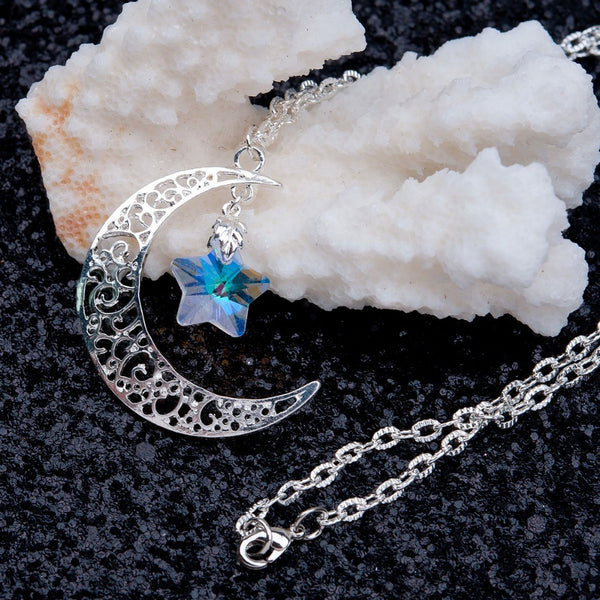 8SEASONS Fashion Hollow Moon Necklace AB Color Glass Star Sliver Plated Necklace Hot Handmade Jewelry