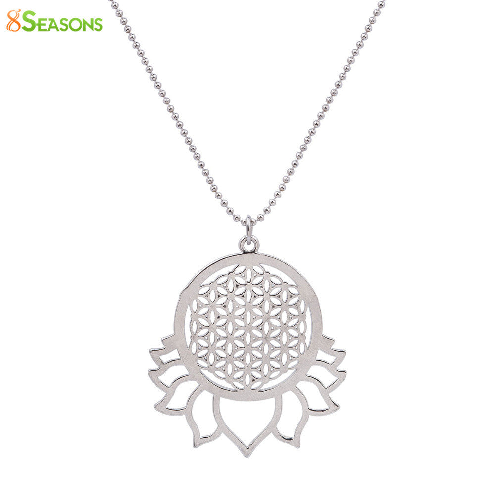 8SEASONS Handmade Flower of Life Necklace Silver Tone Hollow Carved Summer Fashion Jewelry 58.5cm 1Piece