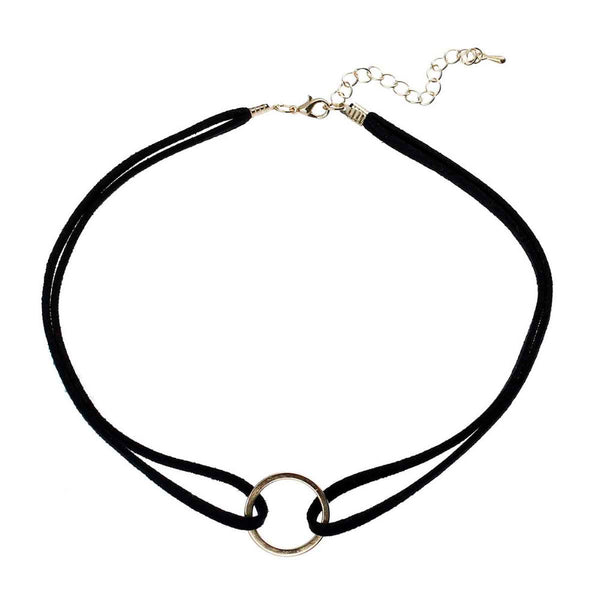 "8SEASONS New Women Fashion Suede Velvet Choker Necklace Black Cord Gold Plated Round Circle Connector 35cm(13 6 8"") long 1 PC"