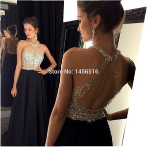 9211W Sexy A-Line Black Prom Dress 2017 Long Halter Beaded Backless vestidos de fiesta Formal Evening Gown Party Pageant Dresses