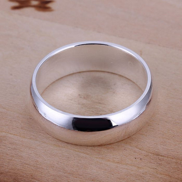 925 jewelry silver plated Ring Fine Fashion Smooth Round Silver Jewelry Ring Women&Men Gift Finger Rings SMTR025