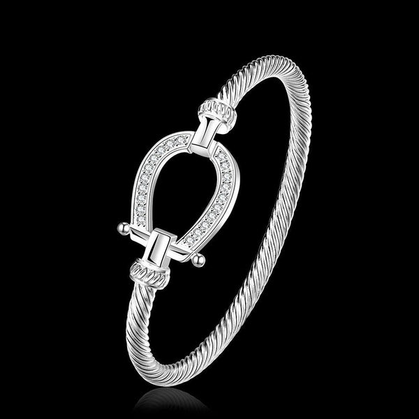 925 stamped silver plated Filled Horse Shoe Bangle water drop Bracelet fashion jewelry Women Love Valentine's Day Gift