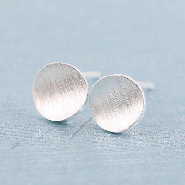 925 Sterling Silver Jewelry Geometric Matte Round Stud Earrings for Women Party Gift SYED020