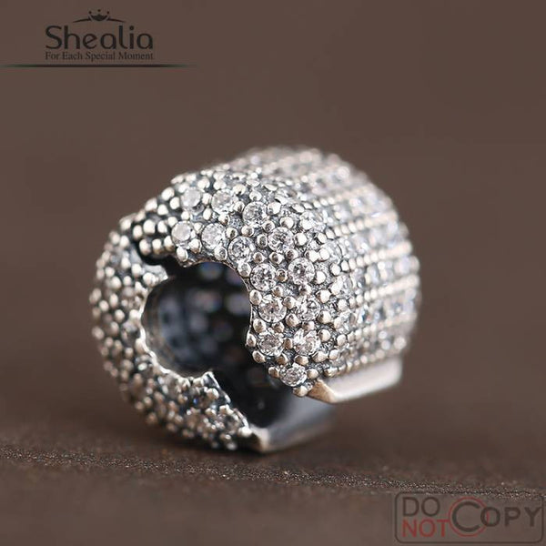 925 Sterling-Silver-Jewelry SHEALIA CZ Pave Barrel Clip Stopper Charms Beads Fit Pandora Bracelets & Bangles Diy Jewelry Making