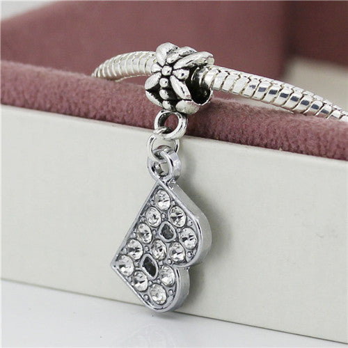 A-R Alloy Bead Charm Letter of The Alphabet With Crystal Pendant Beads Fit Pandora Bracelets & Bangles DIY Jewelry B8