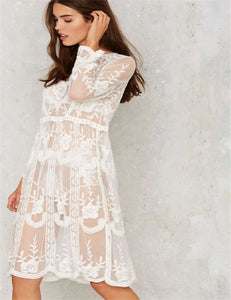Ba289 Unique Design Loose Beach Dress Summer Style 2016 New Arrival White Lace Dress Long Sleeve Knee Length Swimsuit
