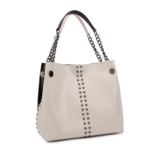 Bvlriga Rivet Solid Genuine Leather Handbags Women V6g143