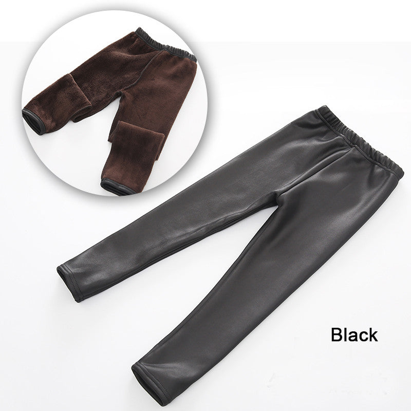 Baby Girls Winter Leggings Kids Girl Spring Warm Thick Mid Elastic Skinny Full Pencil Pants Children Solid Faux Leather Trousers