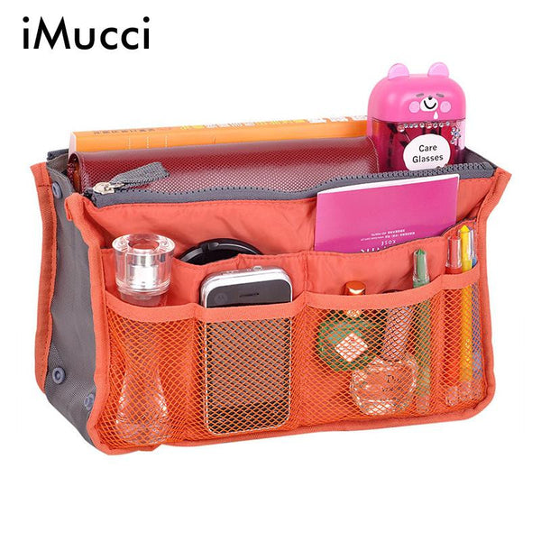 Bag In Bag Double Zipper Portable Multifunctional Travel Pockets Handbag Storage Bag Fadish Travel Cosmetic Makeup Wash Bag