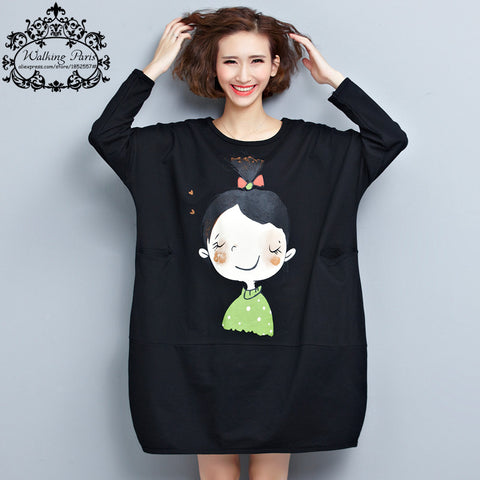 Big Size T-Shirt Women Cotton Autumn Cartoon Girl Pattern Print Fashion Female Large Size O-Neck Red Blue New Tops&Tees Pocket