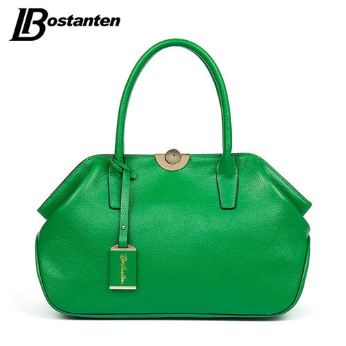 Bostanten Letter Solid Genuine Leather Handbags Women Bl154413k
