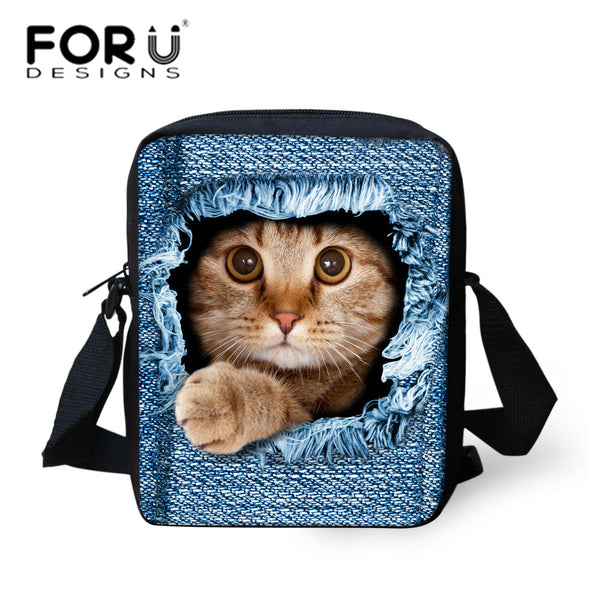 Forudesigns Cat Polyester Handbags Women Small Bags