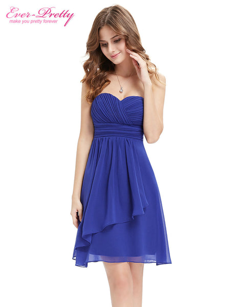 Bridesmaid Dress A Line Ever Pretty Blue Coral Short Strapless Wedding 2016 Plus Size HE03540 Chiffon Sexy Dress