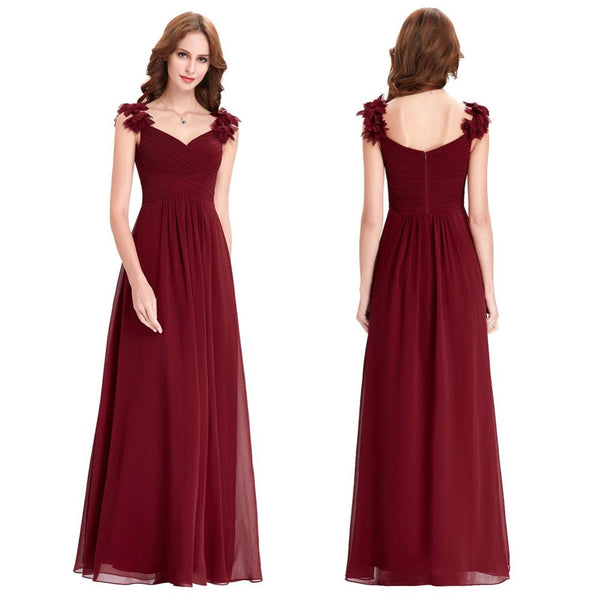 Bridesmaid Dresses Long Chiffon Applique Prom Dresses Cheap Floor Length Wedding Bridesmaid Gown Formal Burgundy Dress 0079