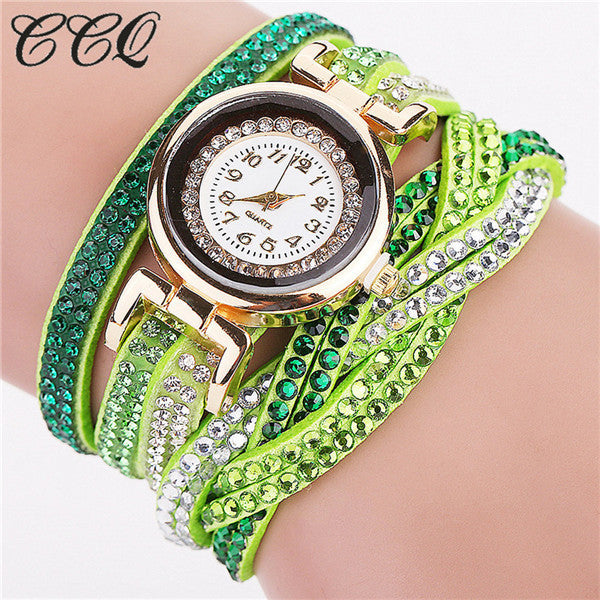 Ccq Leather Quartz Stainless Steel Quartz Wristwatches Women 2002