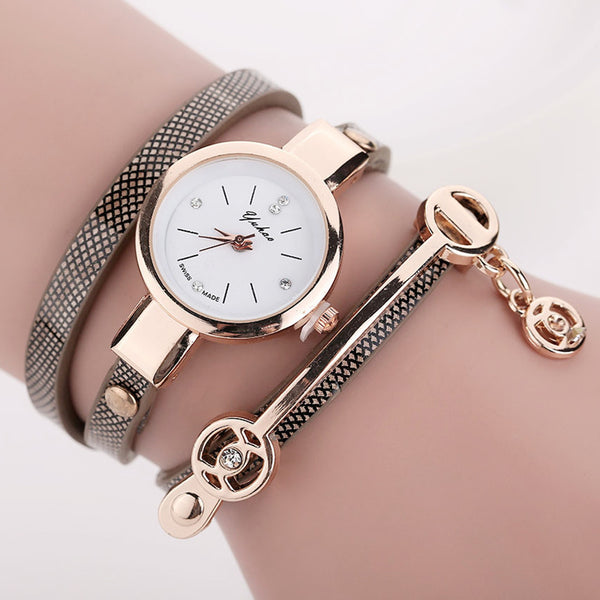 Ccq Leather Quartz Stainless Steel Quartz Wristwatches Women