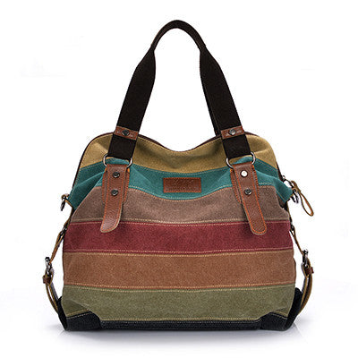 Dizhige Striped Canvas Handbags Women Wt026