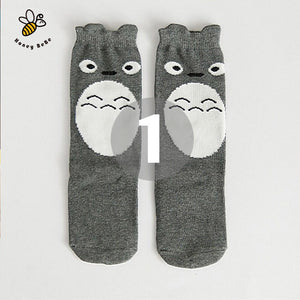 b6c81268f Cartoon Cute Girls Socks Print Animal Cotton Kids Socks Knee High Long Girl  Clothing Accessories Totoro