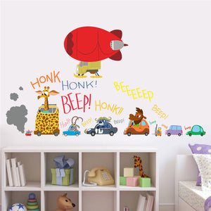 Cartoon cars child room wall stickers for kids room boy bedroom wall ...