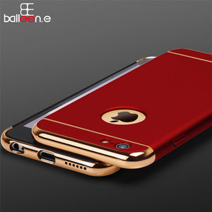 Case For iphone 5 5s 6 6s 6 Plus 6s Plus SE Electroplating Shockproof Metal And PC 3in1 Luxury Mobile Phone Case Back Cove Bags